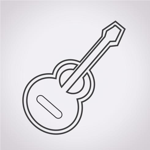 icône de la guitare acoustique vecteur