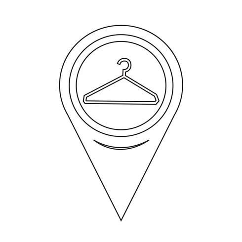 Icône de cintre de pointeur de carte vecteur