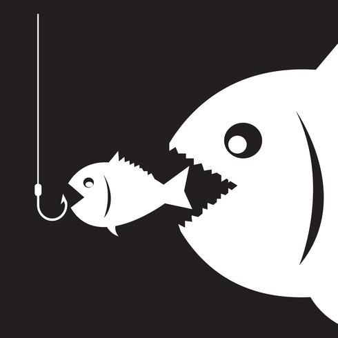 Les gros poissons mangent des petits poissons vecteur