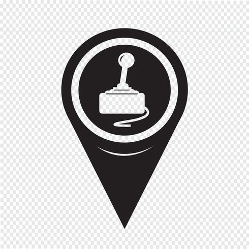 Icône de contrôleur de jeu de pointeur de carte vecteur