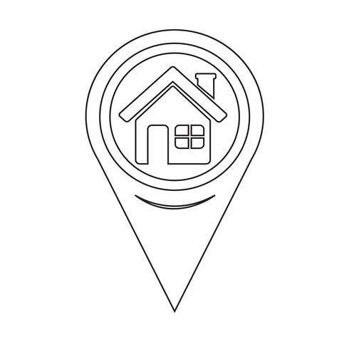 icône d'accueil carte pointeur vecteur