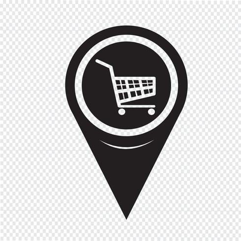 Carte Pointeur Shopping Cart Icon vecteur
