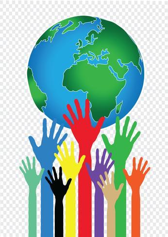 Main tenant l'idée de mains monde et globe vecteur