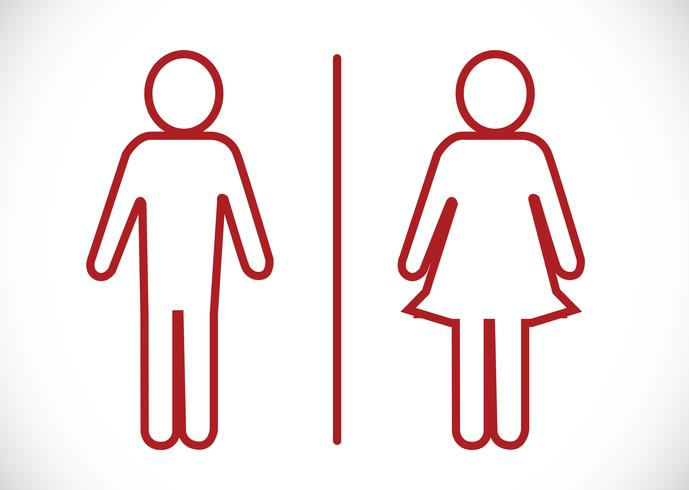 Icône de toilettes et pictogramme homme femme vecteur