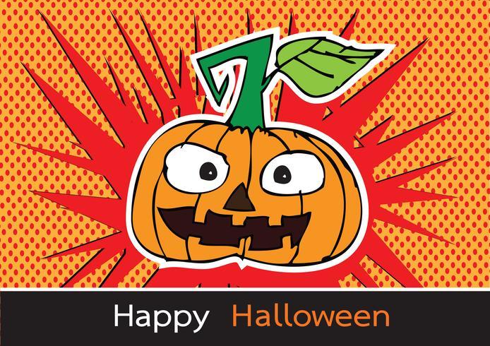 Carte d'Halloween à la citrouille vecteur