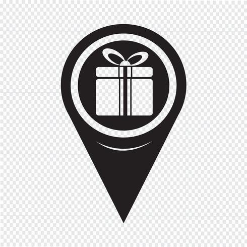 Icône de boîte de cadeau de pointeur de carte vecteur