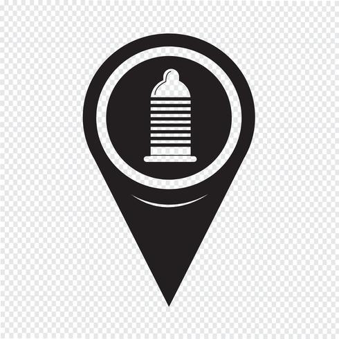 Icône de préservatif Map Pointer vecteur