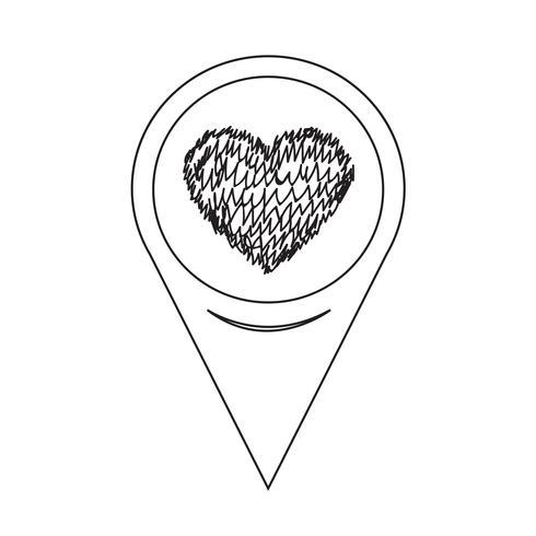 Icône de coeur de pointeur de carte vecteur