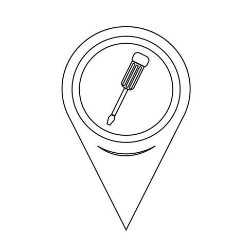 Icône de tournevis pointeur de carte vecteur