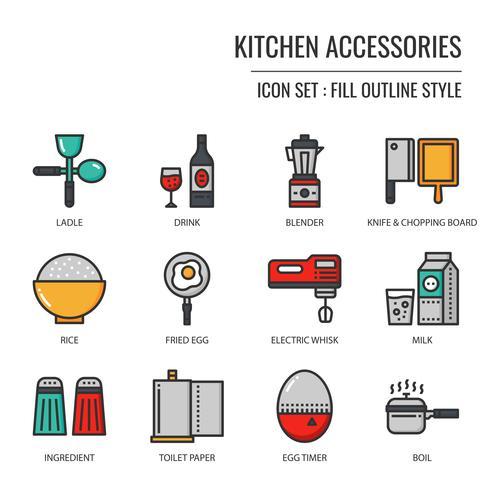 icône d'accessoires de cuisine vecteur
