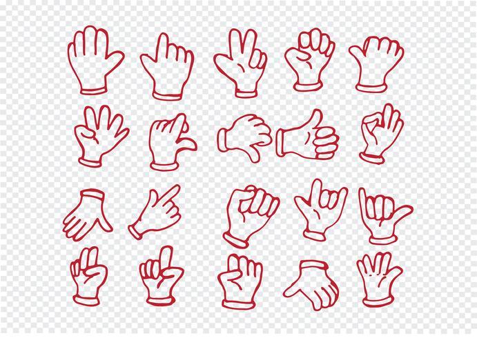 Dessin animé main gantée, illustration de diverses mains vecteur