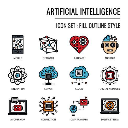 Intelligence artificielle icon vecteur