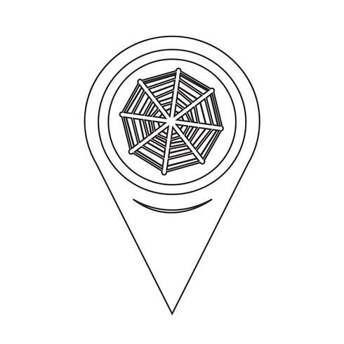 Icône de réseau de pointeur de carte Web vecteur
