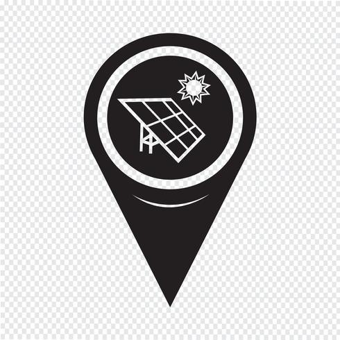 Icône d'énergie solaire de pointeur de carte vecteur