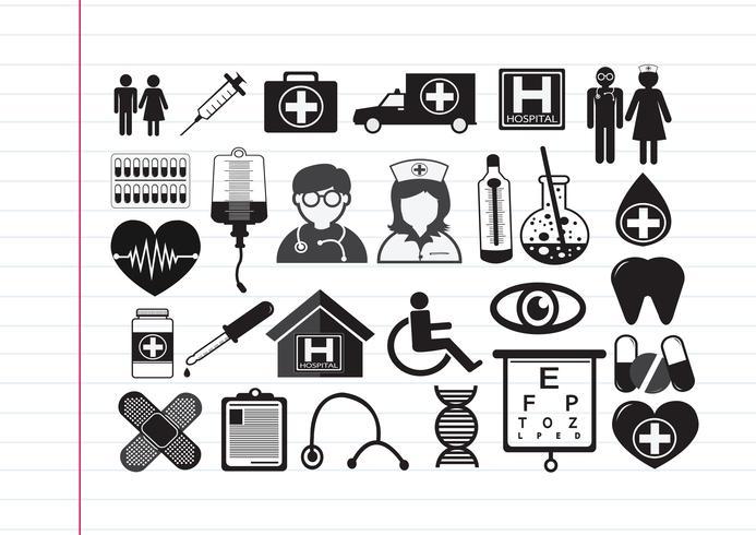 Signe symbole médical icônes vecteur