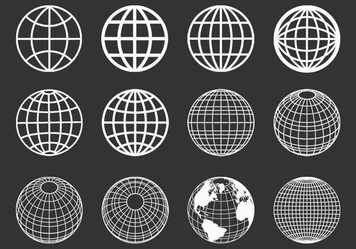 Ensemble vectoriel de globes sphériques décrit