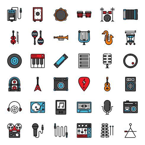 jeu d'icônes de musique vecteur
