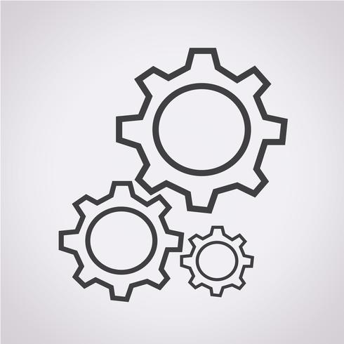 Signe symbole icône d'engrenage vecteur
