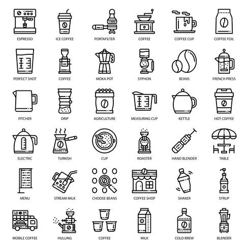 icône de l'équipement de café vecteur