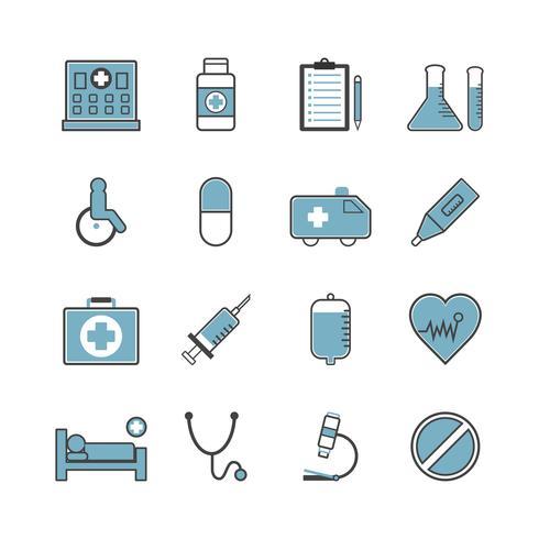 jeu d'icônes d'hôpital vecteur