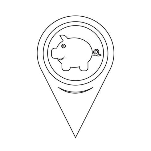 Icône de pointeur de carte tirelire vecteur