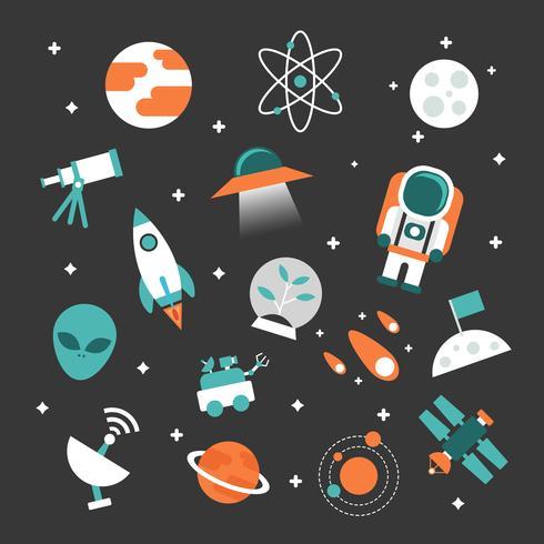 jeu d'icône d'astronomie vecteur