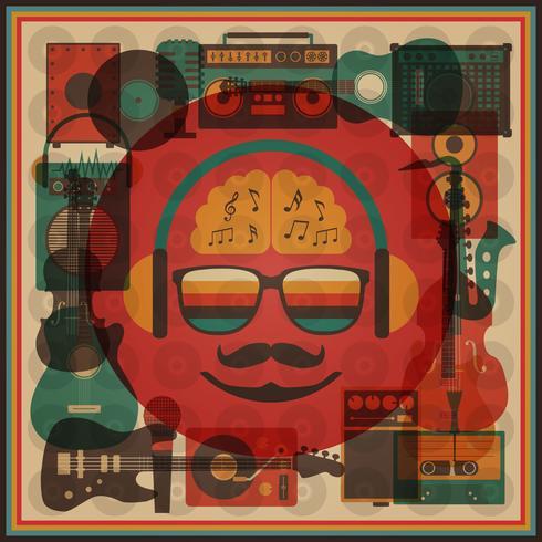 hipster rétro funky vecteur