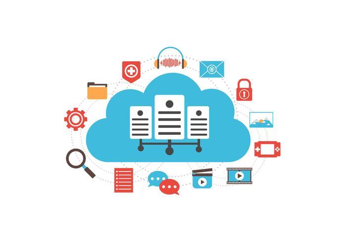média serveur cloud vecteur