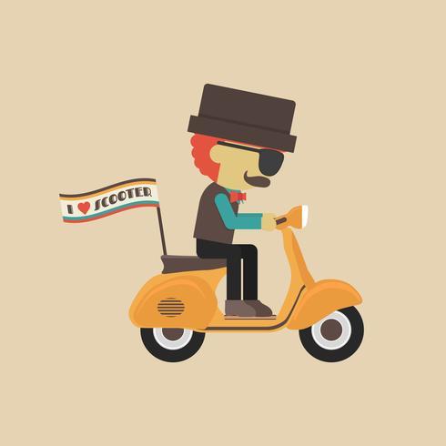 homme en moto classique vecteur