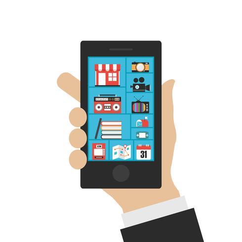 multimédia sur smartphone vecteur