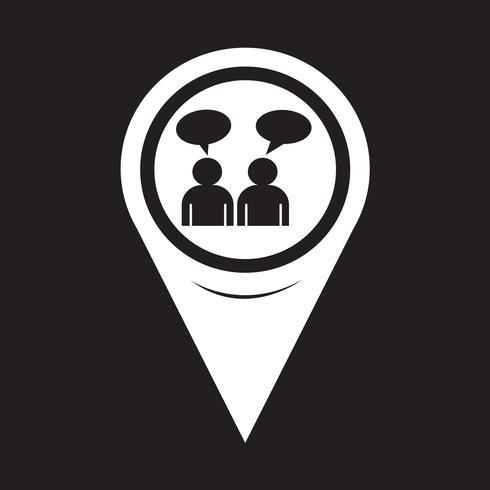 Icône de carte Pointer People Talk vecteur