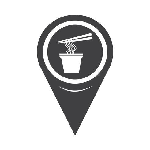 Icône de carte nouilles pointeur vecteur