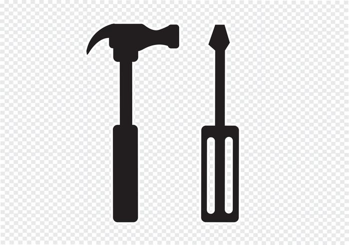 Outils et marteau icon vecteur