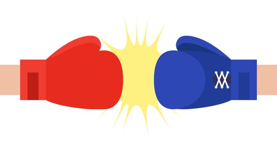 Illustration vectorielle de gants de boxe rouges et bleus vecteur