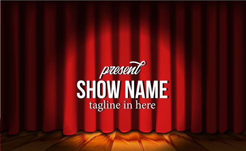 Rideau rouge en soie rouge de luxe au théâtre de la scène avec parquet et projecteurs vecteur