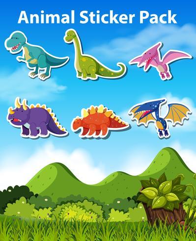 Ensemble d'autocollant de dinosaure vecteur