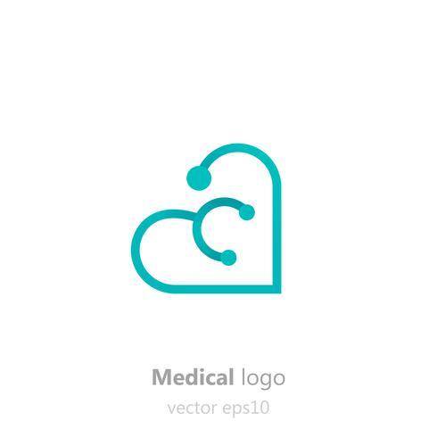 Logo médical Concept. Stéthoscope en forme de coeur. Logotype pour clinique, hôpital ou médecin. Illustration de plat dégradé de vecteur