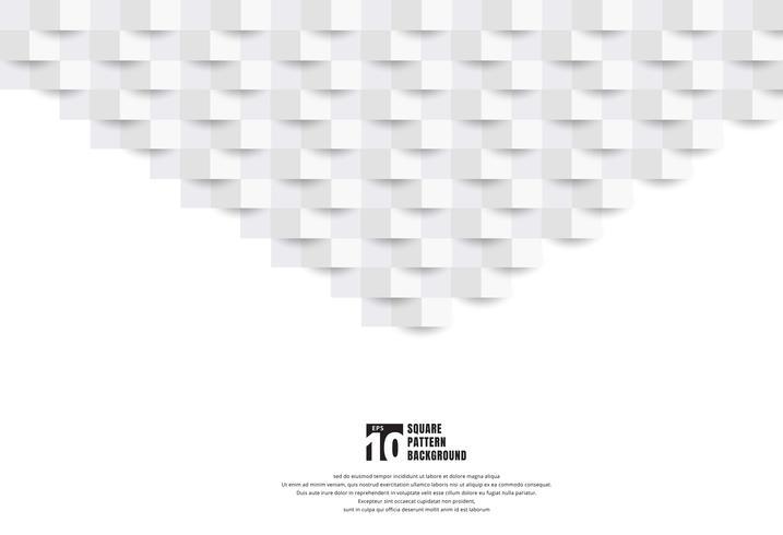 Texture de style art abstrait 3D papier blanc et fond avec espace de copie. Motif de carrés géométriques avec une ombre. Vous pouvez utiliser pour la conception de couverture, livre, brochure, présentation. affiche, cd, flyer, site web, etc. vecteur
