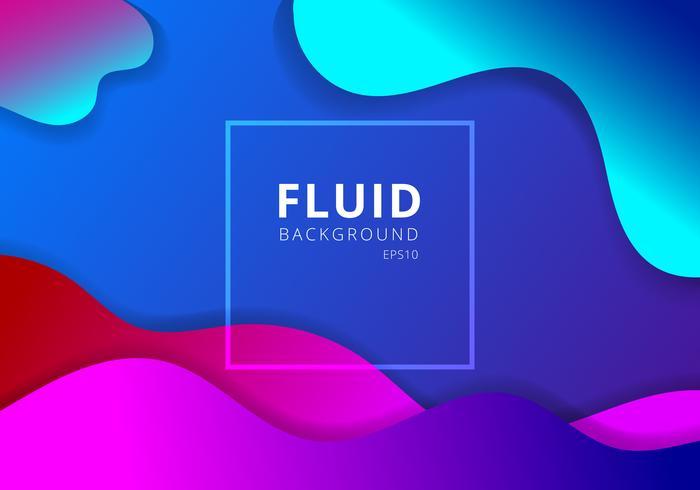 Abstrait liquide ondulé géométrique dynamique 3D coloré coloré. Concept moderne de composition fluide formes gradient dégradé. vecteur