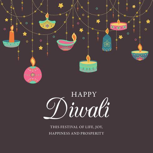 Joyeux Diwali. Festival de lumière, carte de voeux. Affiches colorées de Diwali avec les principaux symboles. Fête de la lumière et du feu de Deepavali. Deepavali indien festival des lumières. Illustration vectorielle vecteur