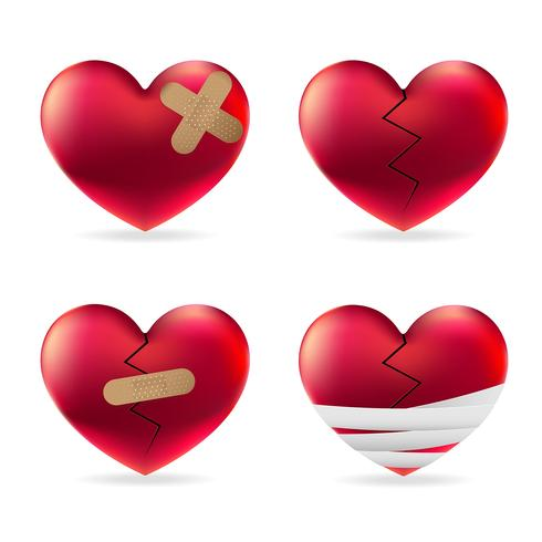 Lésion cardiaque avec pansements médicaux élastiques adhésifs et bandages vecteur