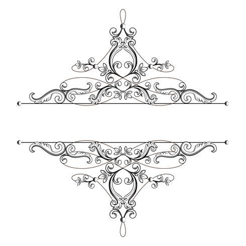 Séparateur ou cadre dans un style rétro calligraphique isolé sur fond blanc. vecteur
