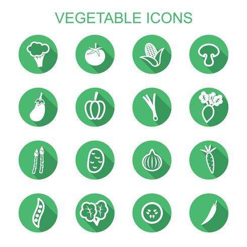 légume ombre icônes vecteur