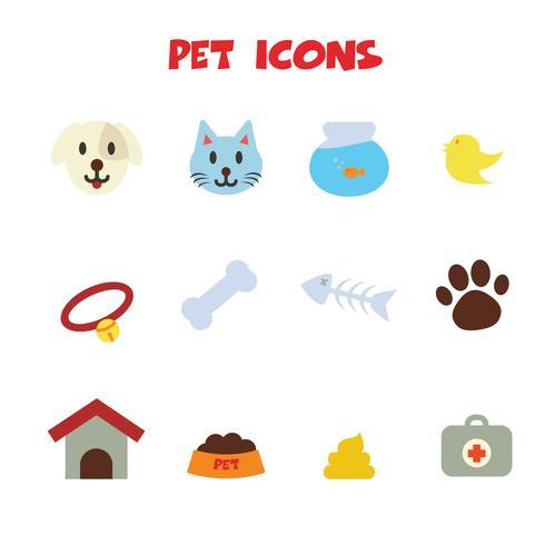 icônes de couleur pour animaux de compagnie vecteur