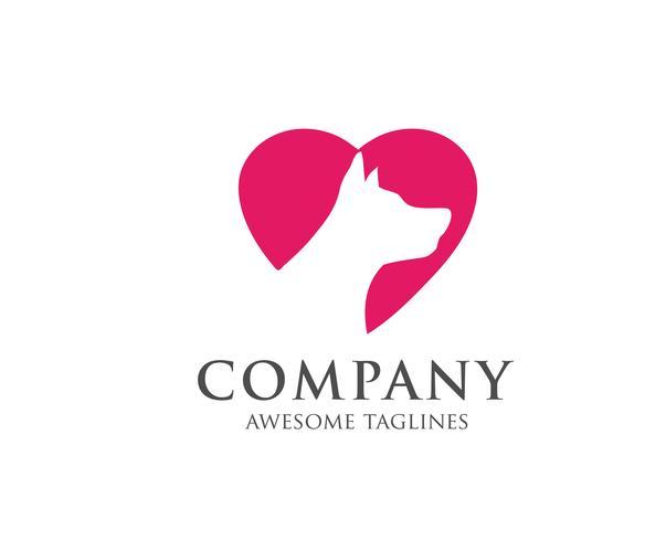 logo de chien avec vecteur de coeur amour fond