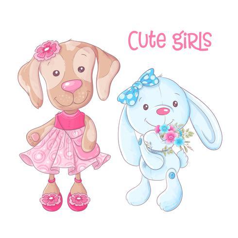 Dessin animé mignon animaux chien et lapin main dessin. Vecteur