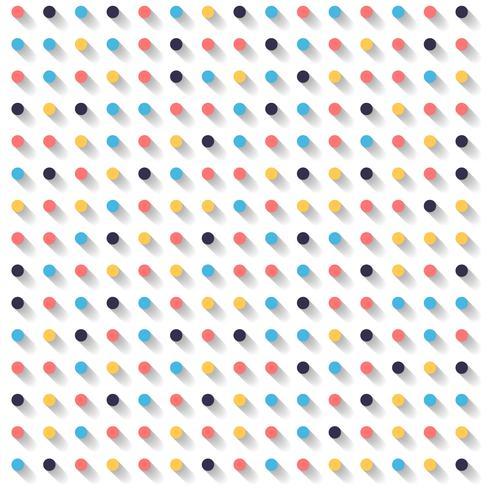 Cercles abstraits rayés points colorés et ombre sur fond blanc. vecteur