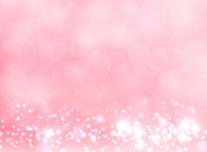Abstrait rose lumière floue avec effet bokeh et paillettes. vecteur
