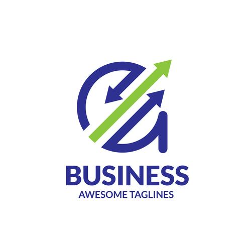 Lettre A avec logo flèche en haut vecteur