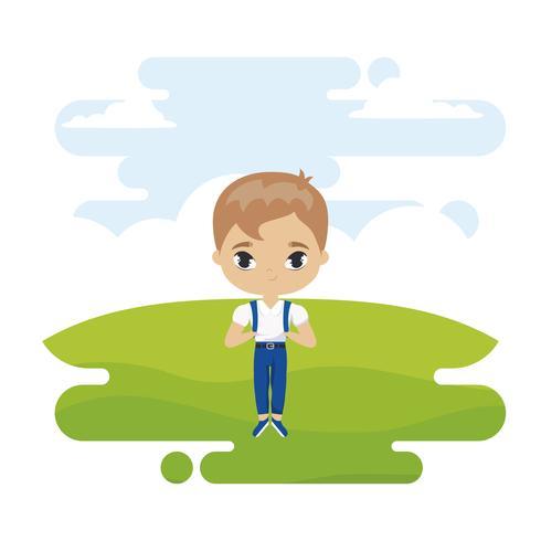 mignon petit garçon étudiant en scène de paysage vecteur